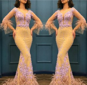 Hellgelb Meerjungfrau Prom Kleider Sheer Long Sleeves Spitze Appliques und Feder Abend Dres Fishtail Arabia Frauen Party Kleid s