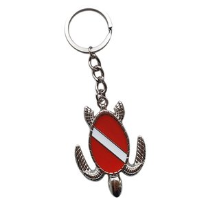 Novelty Sea Turtle with Dive Flag Key Chain Holder Keyring - Sturdy & Durable Zinc Alloy