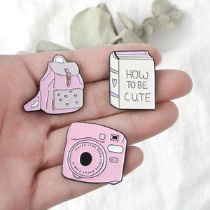 Cartoon Pink Brooch Enamel Pin Metal Decoration Brooch School Bag Phone Badge Button Lapel Pin Women Broach Jewelry Gift VT0524