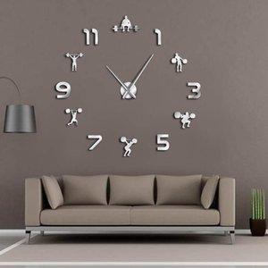 Halterofilismo Sala de ginástica Wall Decor DIY gigante Relógio de parede Espelho Efeito Powerlifting Frameless Grande Relógio GYM Assista