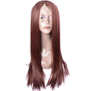 Modern Show Abordable Lace Front Perruques Pour Vente Foncé Auburn Brun Couleur Cheveux Raides Perruques Synthétiques Pour Les Femmes
