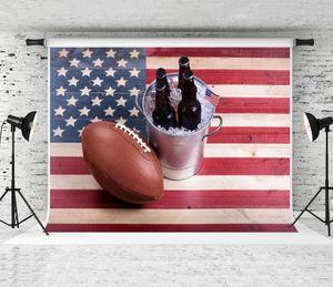 Sonho 7x5ft (220x150 cm) de Futebol Americano Fotografia Cenário Bandeira DOS EUA Fundo de Madeira para Esportes Tema Decoração Do Partido Foto Shoot Prop