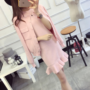 2016 Autumn Women Knitted Coats+Fishtail Dress Sets Knitting Solid Coat and Ruffles Mermaid Dresses Set for Ladies Woman