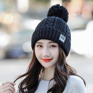1шт Женской Вязание шарф шапка шапка 2018. Зимние вязать Чистый цвет Сращивание Bomber Шляп женской Держи теплый Чудесное ухо охранника