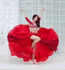 2019 New Belly Dance Competition Show Costume Women Diamond Bra+Split Dress Suit Oriental Dance Show Dress