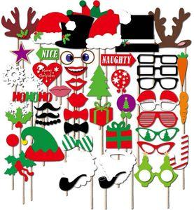 76 adet / grup Komik Photo Booth Dikmeler Doğum Günü Düğün Parti sahne Cadılar Bayramı Noel için Kırmızı dudaklar gözlük maskeleri Bıyık Parti süslemeleri