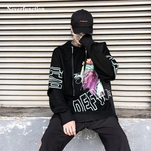 Otoño Hip hop cantante Pintura Loose Hooides Sudaderas Streetwear Moda 2019 Hombres Oversized Casual Pullover Tops con capucha