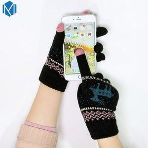 Neue Frauen-warme Handschuhe Female Thick Strick Reindeer volle Finger-Handschuhe Winter-Weihnachts Fäustlinge Bildschirm Sense Mitaine Femme Luvas