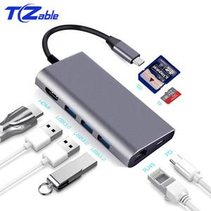 USB 3.0 HUB USB C Yerleştirme İstasyonu Tip-C Yerleştirme İstasyonu Alüminyum Çok fonksiyonlu USB C - HDMI / USB3.0 / PD / RJ45 / SD / TF HUB Dönüştürücü