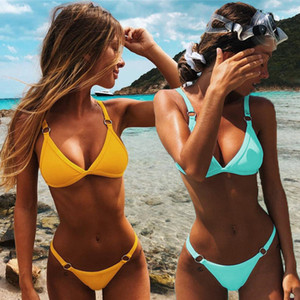 Sexy solide Bikini taille basse Maillots de bain Femme Brésilien Maillot de bain été maillot de bain Femme Backless Beachwear Biquini Mujer