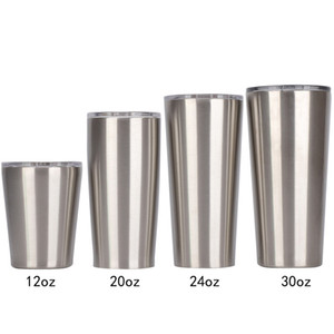 Water Tumbler Coffee Mug Conic Shape Cup 12oz 16oz 20oz 24oz 30oz 18 8 Stainless Steel Insulated Vacuum 2-wall Thermal Glass With Slide Lid