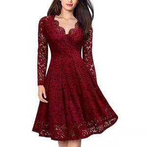 Роскошные женские кружева с длинными рукавами рождественские платья женщина Рождество дизайнер платье партии высокое качество четыре цвета S-XXL праздничный наряд