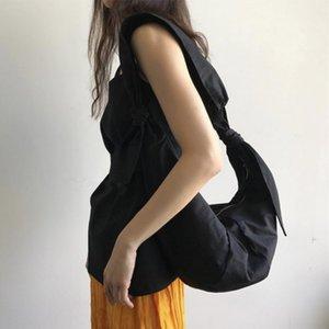 Yeni kızlar çantaları Koreli tek omuz eğik çapraz ceset torbaları öğrenci için geniş omuz askısı tuval günberi düğümlü, kravatlı