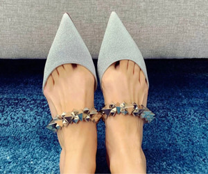 Luxury-brand Summer Sexy Lady Pointed Toe Red Bottom Planet Choc Studded Ankle Strap Slippers Women Sandals Flats Party Dress Wedding