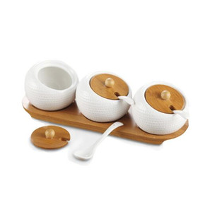 Porcelaine Condiments Pot à épices Récipient avec Couvercles - Bamboo Cap Holder Spot, Serving céramique cuillère, Plateau en bois Meilleur Poterie Cruet Pot