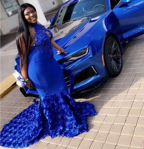 Blue Prom Pageant Kleider 2019 Modest Fashion 3D Rose Blumen Keyhole Neck Abendgesellschaft Kleid Anlass Kleid Lace Backless Nach Maß