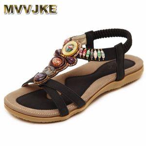 MVVJKE Bohemian Women Sandals Gemstone Beaded Slippers Summer Beach Sandals Women Flip Flops Ladies Flat Shoes Y200702