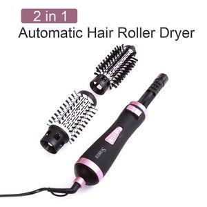 2 in 1 spazzola girante aria calda Styler pettine del ferro di arricciatura del rullo Styling spazzola per capelli phon con ugelli