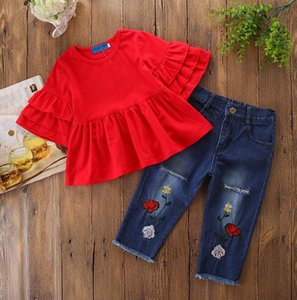 Kids Casual Outfits Toddler Girls Summer Clothing Set Pure Red Tops+ Pants Fashion Jeans 2pcs Girl Clothes Child Suit