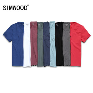SIMWOOD 2019 New T Shirt Uomo Slim Fit tinta unita fitness Casual Top 100% cotone confortevole alta qualità TD017101 TD017101