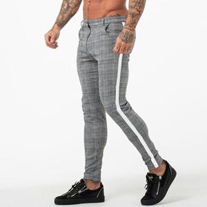 Homens Esporte Calças Calça de Jogging magro Sweat manta Pant Moda aptidão regular Broadcloth plissadas cordão Calças Lápis