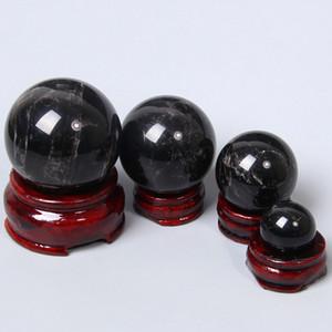 الأصل الأسود 100٪ الطبيعية حجر السج سلس مصقول حقيقية سوداء التأمل شفاء التكهن المجال حجر السج كرة بلورية