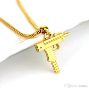 Hip Hop Takı Kolye Oyulmuş Gun Uzi Altın Kolye Kolye Popüler Kolye Erkek Takı Altın Zincir Kolye