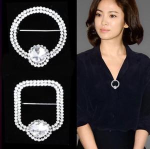 Corée Mode géométrie ronde carrée Brooches en cristal clair Broche Corsage Pins femmes de soirée de mariage Bijoux
