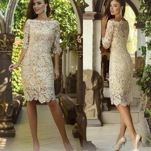 Champagne madre nueva vendimia barata del cordón lleno de la novia de los vestidos del hombro longitud de la rodilla medias mangas personalizado de visitantes vestidos de noche