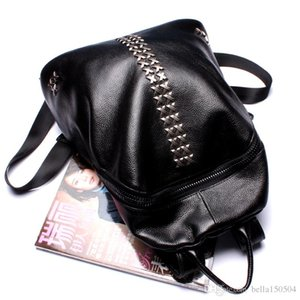 FREE SHIPPING Backpacks Genuine leather rivet Shoulder School Bags For Teenagers Girls Laptop Backpack Waterproof Travel Bagpack Lady's