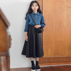 Pu Leather Teenage Girls Skirts For School Black Toddler Skirt Kids Long ONE Line Spring Autumn 2019 Mother And Daughter Clothes