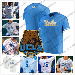 맞춤형 UCLA 2019 대학 야구 모든 이름 번호 흰색 회색 연한 파란색 7 Michael Toglia 36 Jake Pries 남성 청소년 Kid NCAA Jersey