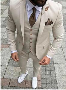 Bej Düğün Smokin Groomsmen Slim Fit İyi Adam Blazer Örgün İş Üç Adet Erkek Giyim (Ceket + Pantolon + yelek + Kravat)