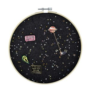 Lapel Pins Display Case Cabinet Wall Rack Holder Glitter Pin Display Board with star Pin Collection Display Canvas leather Embroidery Hoop