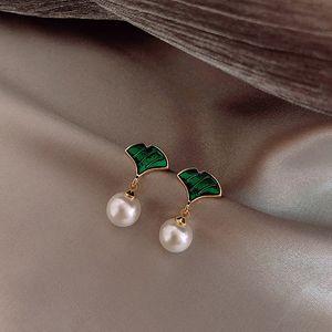 Gros- Véritable argent 925 Ginkgo Biloba Boucles d'oreilles femmes Femme Feuille Boucles d'oreilles fantaisie Bijoux en perles