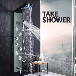 Venta al por menor y al por mayor Chrome Led light Dual Handle Shower Mixer Set montado en la pared de acero inoxidable cascada cascada de ducha