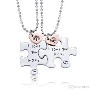 hochwertige modeschmuck titan stahl puzzle paar liebhaber herz anhänger ich liebe dich am meisten ich liebe dich mehr halskette