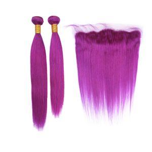 Double Wefted Lila Farbe Haar 2 Bundles Mit Frontal Double Wefted Gerade Spitze Verschluss Mit 2 Stücke Verlängerungen 10-30 zoll