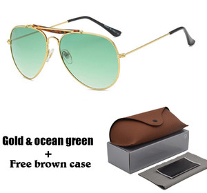 Marke Designer Classic Pilot Sonnenbrillen für Männer Frauen Metallrahmen Fahrbrille uv400 Schutz Spiegelbrille mit Box