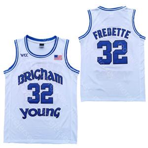 2020 New BYU Cougars Basketball Jersey Statistiques NCAA 32 Fredette Blanc Tous agrafées et broderie hommes Taille des jeunes
