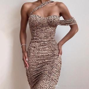Femmes Automne imprimé léopard Fashion Halter dames Robes Femmes Sexy Designer Night Club Robes