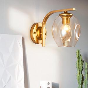 Bola de vidro Nordic LED Modern Wall Lamp espelho do banheiro cabeceira Stair Retro americano Wall Light Sconce Iluminação Interior