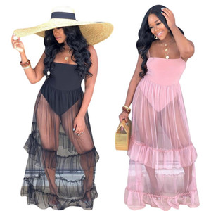 Женский дизайнер длиной до пола юбка одно целое платье высокого качества свободное платье сексуальная элегантная роскошь модная юбка Maxi платье Hot Klw1238