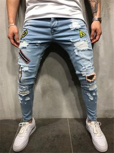 Erkek Delik Patch Jeans Moda İşlemeli Baskılı Pantolon Fermuar Elastik Kuvvet Casual Hip Hop Kalem Pantolon