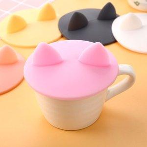컵 커버 식품 학년 내열 실리콘 뚜껑 커피 잔 모양의 새로운 재미 고양이 귀 덮개 무료 배송 캡