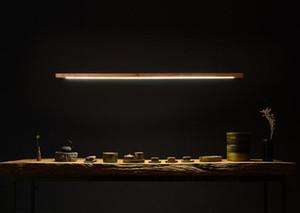 LED de madeira talo pingente lâmpada noz pinho longa barra de madeira de suspensão tubo escritório claro reunião de jantar quarto de hotel villa MYY luz contrária