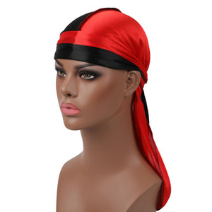 Men Women Durag Bandana Turban Wigs Male Silky Hip Hop Headwear Headband Pirate Hats Caps Hair Accessories