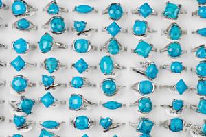 الجملة الأزياء والمجوهرات النسائية رجل الفيروز الأحجار الكريمة خاتم فضة للجنسين هدية