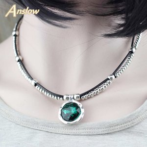 Anslow Brand 20% Discount New Design Round Crystal Leather Collar Statement Necklace For Elegant Women Female Jewelry LOW0078AN