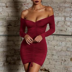 Sexy Womens V-Образным Вырезом Bodycon Короткое Мини-Платье С Длинным Рукавом Коктейльное Вечернее Платье Vestidos Verano Sexy Club Women Dresses Горячие Продажи